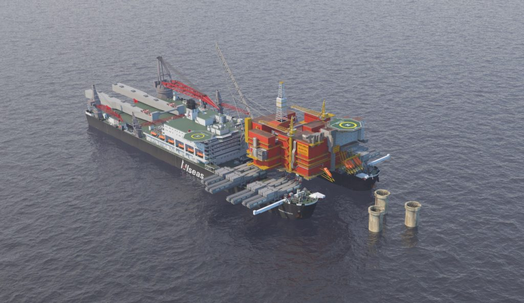 Pioneering Spirit lifts 25,000 t Brent Bravo platform